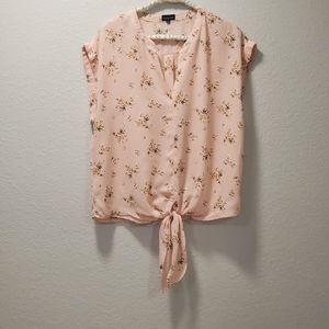 Zenobia Light Pink Floral Front Tie Knot Blouse